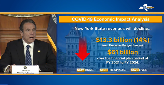 Gov. Andrew Cuomo showed a slide April 23, 2020, that showed New York faces massive revenue deficits in the coming years.