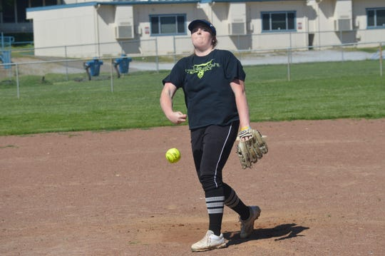 Central Valley pitcher Raegan Breedlove throws a pitch during a practice session at Central Valley High School on April 7, 2020.