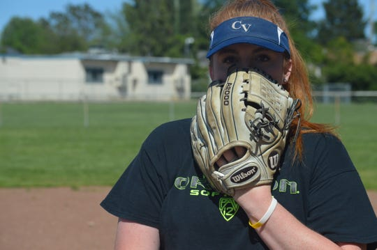 Central Valley pitcher Raegan Breedlove seen on April 7, 2020 in Shasta Lake and signed with Oregon in February can throw at 70 MPH ------ the equivalent reaction time to seeing a 90 MPH fastball in baseball.