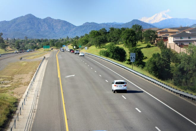 Mount Shasta is visible from an Interstate 5 overpass in Redding on Thursday, April 23, 2020. Preliminary design work has started on the Fix 5 Cascade Gateway Project that would expand the freeway from four to six lanes from just north of Cypress Avenue to just north of Oasis Road.