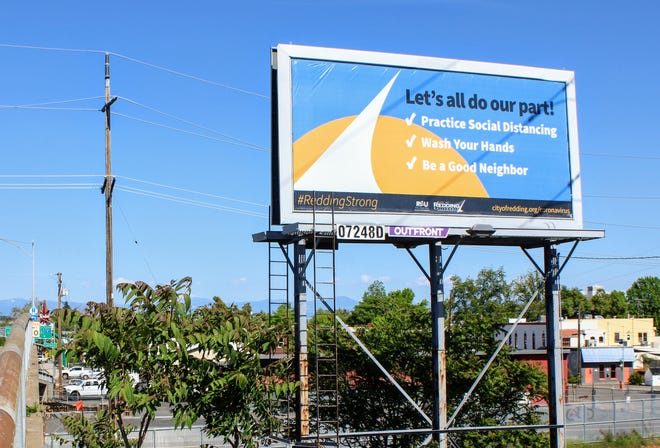 A billboard on Eureka Way in west Redding reminds residents to take steps to prevent spreading the novel coronavirus on Thursday, April 23, 2020.
