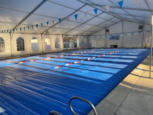 The covered swimming pool at Salem Tennis and Swim Club.
