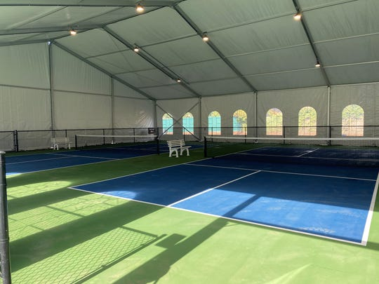 Covered pickleball courts at the Salem Tennis and Swim Club.