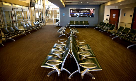 A waiting area at the San Angelo Regional Airport, seen in this Friday, April 24, 2020 photo, sits empty amid drastic reductions in the level of commercial airline travel due to the coronavirus.