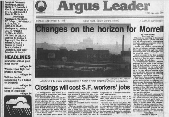 A 1981 story in the Argus Leader predicts the direction of the meat processing industry and its effect on Sioux Falls.