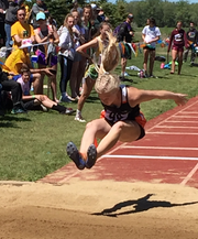 Hannah Heiberger competes in the long jump at last year's Class A state meet where she finished fourth.