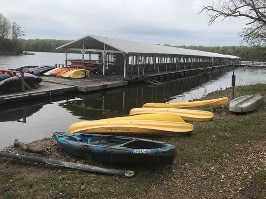 Fellows Lake Marina rents kayaks, canoes and  fishing boats and sells bait and tackle at the lake, five miles north of Springfield.