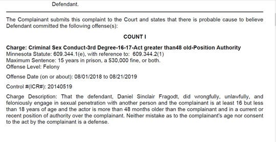 Former Albany Area Schools math teacher and coach Daniel Fragodt was charged with third-degree criminal sexual conduct in April 2020 for an alleged relationship with a student. Here is an image from the Stearns County court documents.
