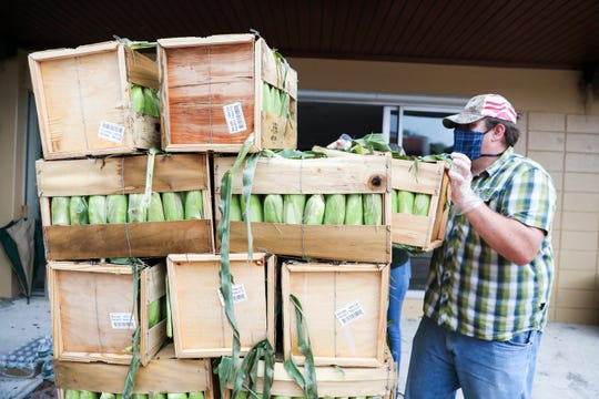 "Volunteer David Hafner, of Indiantown, unloads a crate of corn during U.S. Sugar's sweet corn donation event at Holy Cross Catholic Church on Friday April 24, 2020, in Indiantown. The recently harvested sweet corn was grown by U.S. Sugar farmers, packaged by Duda and delivered by Cheney Brothers. ""My wife and I own a small business here,"" said Hafner. ""We try to do anything we can to help the community."""