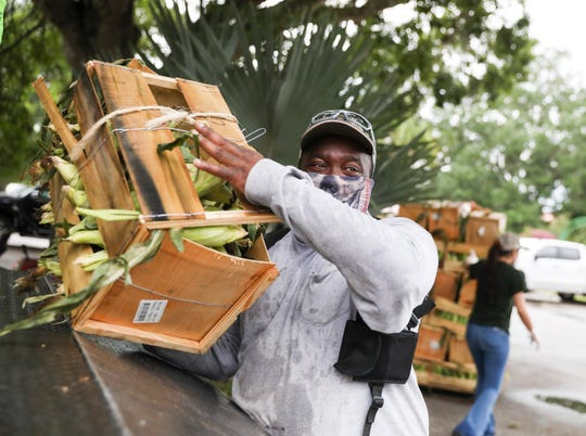 In response to the coronavirus pandemic, U.S. Sugar donated Florida-grown sweet corn to families at Holy Cross Catholic Church on Friday April 24, 2020, in Indiantown. The recently-harvested sweet corn was grown by U.S. Sugar farmers, packaged by Duda and delivered by Cheney Brothers.