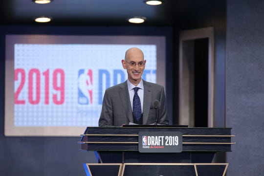NBA commissioner Adam Silver talks prior to introducing the first pick of the first round of the 2019 NBA Draft at Barclays Center.