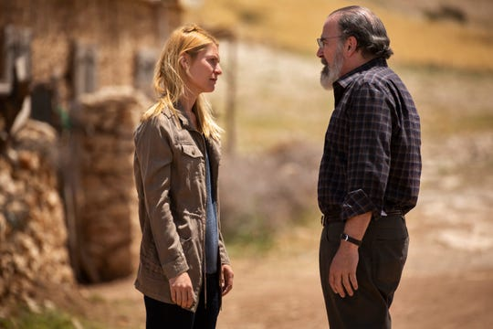 Spy protege Carrie Mathison (Claire Danes), left, and her mentor, Saul Berenson, have one of their many tense conversations in Showtime's 'Homeland.'