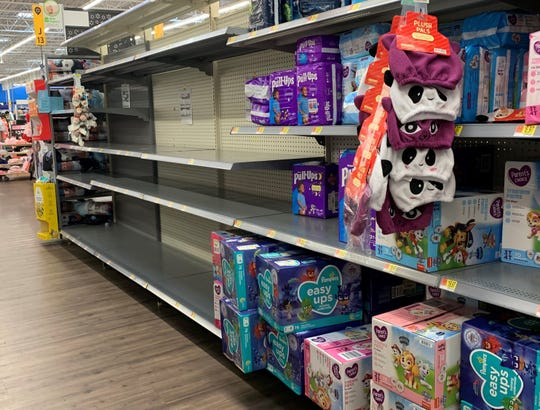 Baby wipes were wiped out at a Walmart store in Stuart, Fla., on April 19 because of COVID-19.