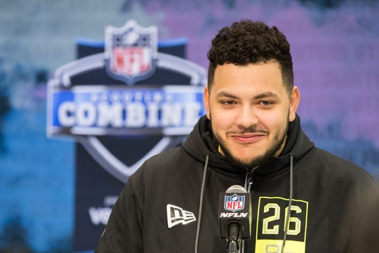 Feb. 26, 2020 in Indianapolis; Ohio State offensive lineman Jonah Jackson speaks to the media during the NFL combine.