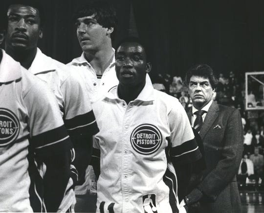 (From left) John Long, Bill Laimbeer, Isiah Thomas and Chuck Daly were all principal participants in Game 5 of the 1984 Eastern Conference quarterfinals at Joe Louis Arena.