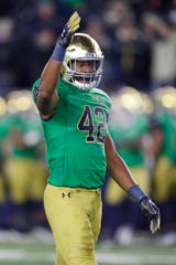 Notre Dame's Julian Okwara reacts after his defense stops Florida State on fourth down Nov. 10, 2018 in South Bend, Ind.
