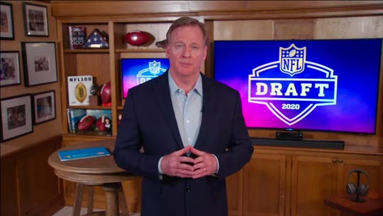Apr 23, 2020; In this still image from video provided by the NFL, NFL Commissioner Roger Goodell speaks from his home in Bronxville, N.Y., during the 2020 NFL football draft. Mandatory Credit: NFL/Handout Photo via USA TODAY Sports