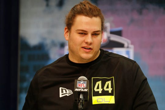 Feb 26, 2020; Indianapolis, Indiana, USA; Kentucky Wildcats offensive lineman Logan Stenberg (OL44) speaks to the media during the 2020 NFL Combine at the Indiana Convention Center. Mandatory Credit: Brian Spurlock-USA TODAY Sports