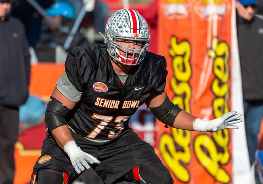 North guard Jonah Jackson of Ohio State sets up for a block during Senior Bowl practice Jan. 21, 2020 in Mobile, Ala.