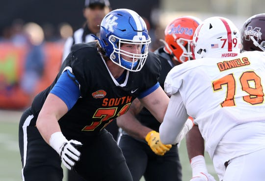 Jan 25, 2020; Mobile, AL, USA; South offensive guard Logan Stenberg of Kentucky (71) in the second half of the 2020 Senior Bowl college football game at Ladd-Peebles Stadium. Mandatory Credit: Chuck Cook-USA TODAY Sports