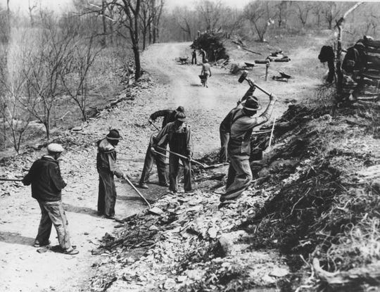 Works Progress Administration (WPA) workers build a new farm-to-market road along Knob Creek in Tennessee. The New Deal was a try-anything moment during the Great Depression that remade the role of the federal government in American life.