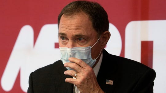 """FILE - In this April 21, 2020 file photo Utah Gov. Gary Herbert speaks during a news conference in South Jordan, Utah. Herbert, a Republican, acknowledged that hydroxychloroquine for COVID-19, is """"not without controversy,"""" but said an $800,000 purchase from a local company whose CEO appeared alongside GOP lawmakers touting the drugs last month was part of the state's effort to make rational decisions based on """"good science and good data."""""""