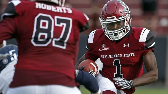 The Lions drafted New Mexico State running back Jason Huntley.