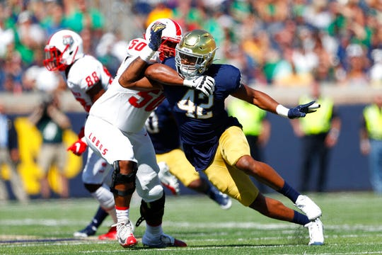 Notre Dame defensive lineman Julian Okwara (42) will be joining his brother Romeo on the Lions.