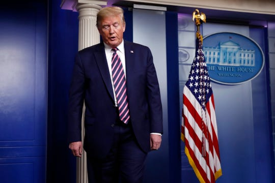 President Donald Trump turns to leave at the end of a briefing about the coronavirus in the James Brady Press Briefing Room of the White House, Friday, April 24, 2020, in Washington.