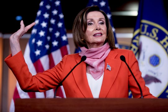 House Speaker Nancy Pelosi of Calif., speaks during a news conference on Capitol Hill, Friday, April 24, 2020, in Washington.