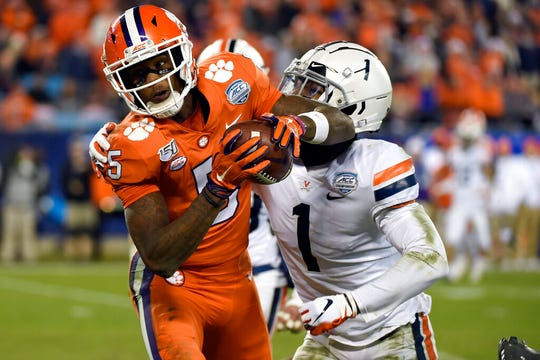 Clemson receiver Tee Higgins (5) was the first pick on Day 2 of the NFL Draft.