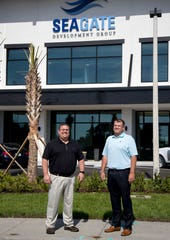Seagate Development Group CEO Matt Price, left, and COO James Nulf are looking forward to when their team can move into their new headquarters off Alico Road.