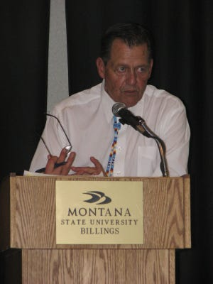 Former Cut Bank and Montana Griz basketball star Don Wetzel, Sr., speaks during the 2008 Montana Indian Athletic Hall of Fame induction ceremony at MSU-Billings.