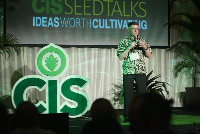 University of Guam President Thomas W. Krise opens the CIS Talk Talks portion of the university's Conference on Island Sustainability in this file photo from last April. This year's conference will take place virtually over several Fridays starting May 1.
