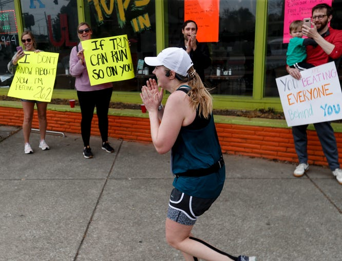 With the KDF mini/marathon canceled, many runners took to the road today with only help from family and friends. Morgan Stemple ran her first marathon on April 25, 2020.