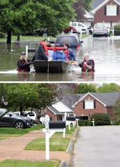 THEN: Zane Griggs and his family along with neighbors evacuate their home on Glastonbury Drive. in Fieldstone Farms in Franklin , Tenn., Sunday, May 2, 2010. NOW: A view of Glastonbury Drive  in Franklin on April 21. 2020.