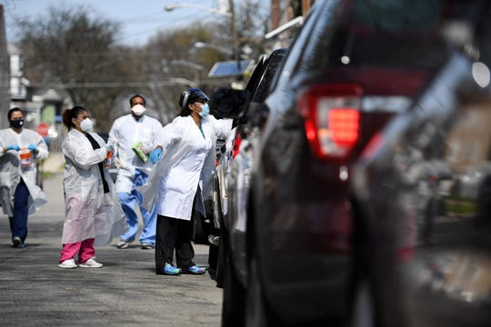 The Amalgamated Transit Union, which represents several hundred NJ Transit bus operators, organized a drive-thru coronavirus testing site in Irvington for their members on Saturday, April 25, 2020.