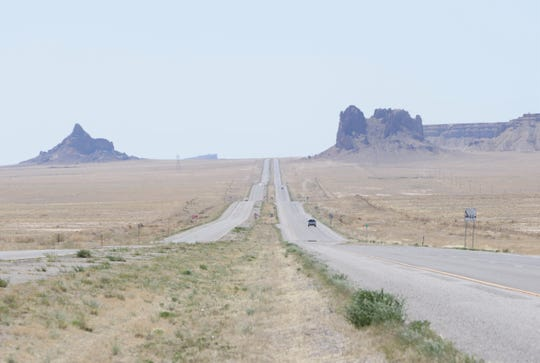 Vehicles travel on U.S. Highway 491 on April 25 between Shiprock and Table Mesa.