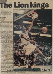 Caleb Gervin dunks the ball in a photo of Cathedral City's CIF championship win in 1997.
