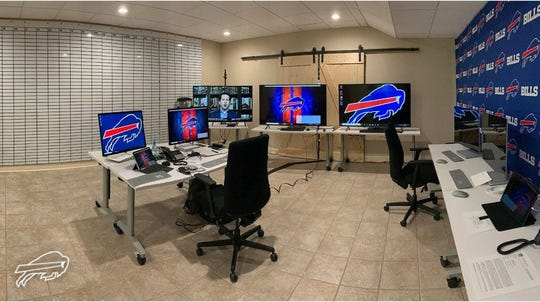Buffalo Bills general manager's quarantine war room for the 2020 NFL Draft.