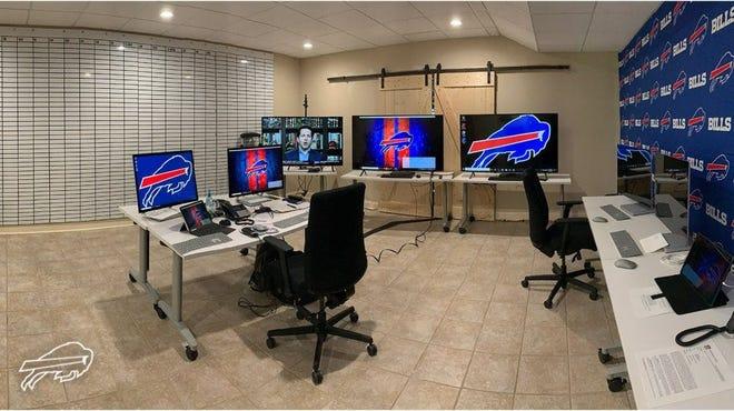 Buffalo Bills general manager's quarantine war room for the 2020 NFL Draft.