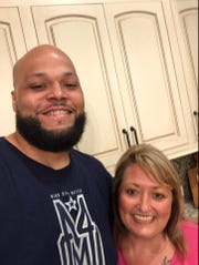 Jace Prescott and fellow Haughton alum Lisa Metts Lawrence in a 2019 photo.