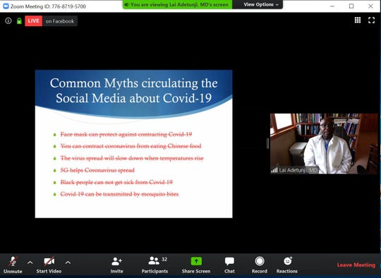 """Dr. Olayiwola R. Adetunji, a physician at CentraCare, shares information on COVID-19 on Friday, April 24, 2020 during Jugaad Leadership Program's """"Demystifying Cultural Myths"""" series."""
