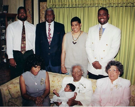 """Back Row: Matthew Parker (left), James """"Billy"""" Oliver, Gwen Parker and Eric Parker. Front Row: Mia Parker, Alberta Oliver, Camryn Parker (baby) and Annie Mae Oliver gathered for a family photo on Mother's Day in 1997. """"Billy"""" Oliver was a legendary football coach at the old Lincoln High School."""