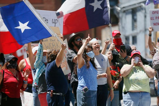 Safely Open Texas Now rally Saturday, April 25, across the street from the El Paso County Court House in El Paso. Protesters demanded elected officials safely reopen the State of Texas, the County of El Paso and the city of El Paso for business.