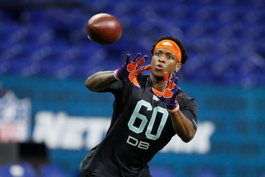 Clemson defensive back K'Von Wallace runs a drill at the NFL football scouting combine in Indianapolis, Sunday, March 1, 2020. (AP Photo/Charlie Neibergall)