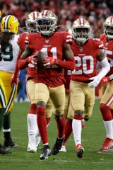 San Francisco 49ers wide receiver Marquise Goodwin celebrates during the first half of the NFL NFC Championship football game against the Green Bay Packers Sunday, Jan. 19, 2020, in Santa Clara, Calif. (AP Photo/Marcio Jose Sanchez)