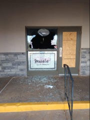 The window of Maiale Deli on Lancaster Pike in Wilmington was smashed either late Friday night or early Saturday morning. It's the shop's third break-in in the past 5 weeks.