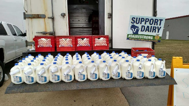 The Waupun FFA and FFA Alumni, with the help of a local anonymous donor, gave away 1,200 gallons of milk in the Waupun Area School District on April 24.