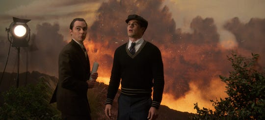 Henry Willson (Jim Parsons), left, is the talent agent representing Rock Hudson (Jake Picking) in Netflix's 'Hollywood.'